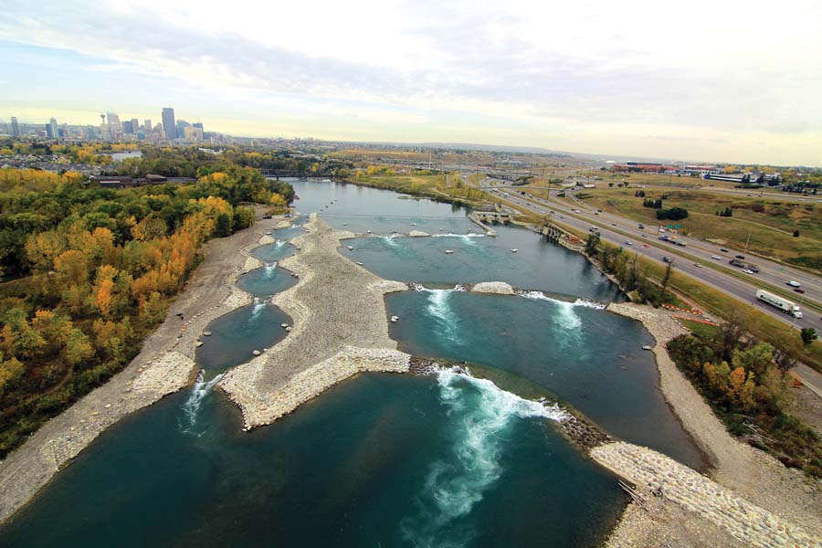 Aerial View of the work under construction in the Bow River, in a section known as the Harvie Passage.