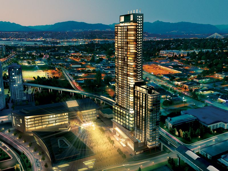 Rendering of the Civic 3 Plaza (at right in photo), in Surrey, B.C. Rendering by Cotter Architects with artwork by Vividus and Dead Famous.