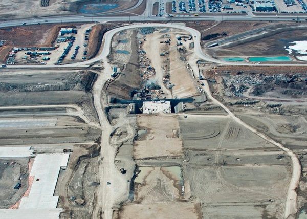Tunnel and runway under construction at Calgary International Airport.