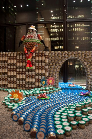 BA Consulting Group's Hungry Humpty, one of the winners at Canstruction held June 6-8 which exhibited in the lobbies of banking towers in downtown Toronto.