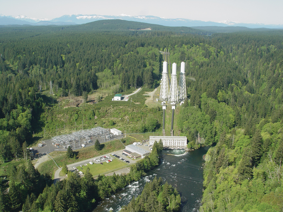 BC Hydro John Hart generationg station on the Campbell River, Vancouver Island.
