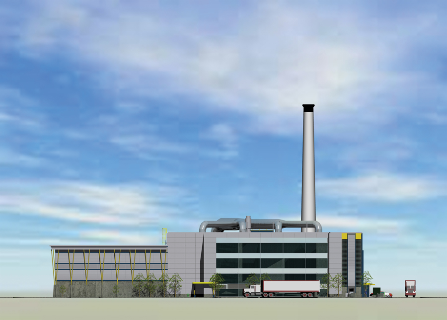 Architectural rendering of the 25-MW Index Energy biomass cogeneration plant in Ajax.  Image:  J.R. Freethy, architect.