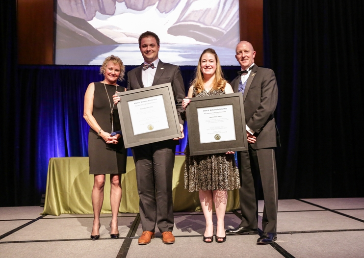 Dorothy Williams (far left) and Leon Botham (far right) present the Allen D. Williams Scholarship Award to co-winners Simon Davidson of Roche (second from left) and Selena Wilson of McElhanney (second from right) at the ACEC Summit in Lake Louise, Alberta on June 21.