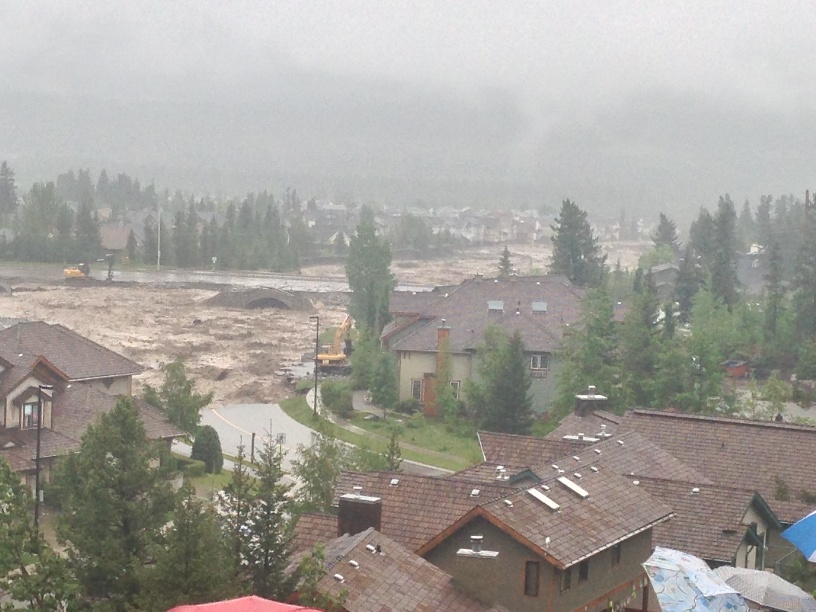 Floods at Cougar Creek, Canmore in the Rocky Mountains of Alberta, June 20.  Photo courtesy McElhanney