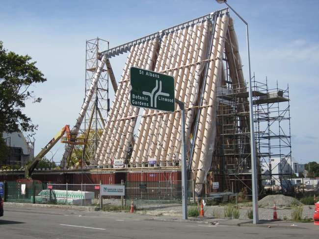Cardboard cathedral in Christchurch, New Zealand under construction.