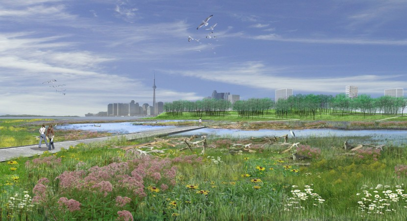 Artist's view of the naturalization of the Don River mouth on Lake Ontario. Image from Waterfront Toronto, Michael Van Valkenburgh Associates.