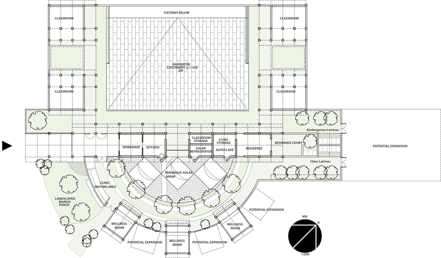 Site plan for the Katebi Clinic and Community Centre.