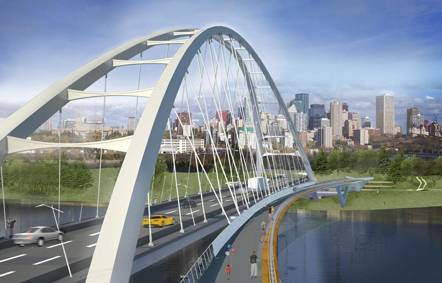 Artist's rendering of new Walterdale Bridge, Edmonton.