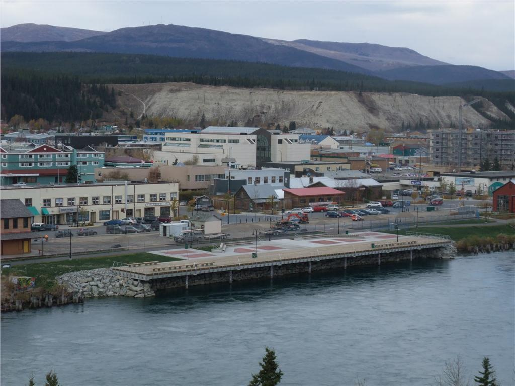 View of the new wharf on the Yukon River in downtown Whitehorse. Photo courtesy EBA Engineering/Tetra Tech.