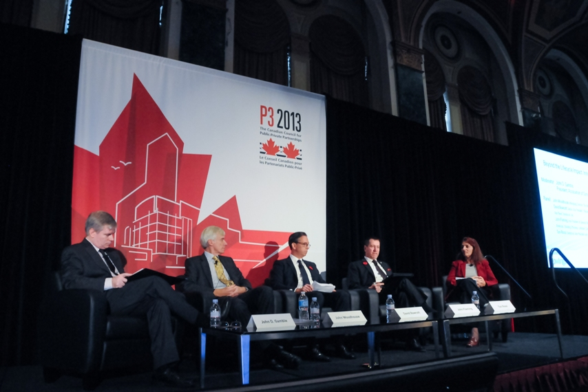 The panel on lifecycle asset management at the conference of the Canadian Council for Public Private Partnerships in Toronto. Left to right: John Gamble, president, Association of Consulting Engineering Companies; John Woodhouse, managing director, The Woodhouse Partnership, UK; David Bowcott, senior vice president, national director, Large/Strategic Accounts, Construction & Infrastructure, Aon Reed Stenhouse Inc.; John Fleming, vice president & general manager, Energy Solutions Canada, Performance Based Infrastructure (P3) with Johnson Controls; and Toni Rossi, executive vice president and group head, Real Estate Management, Infrastructure Ontario. Photo: CCPPP