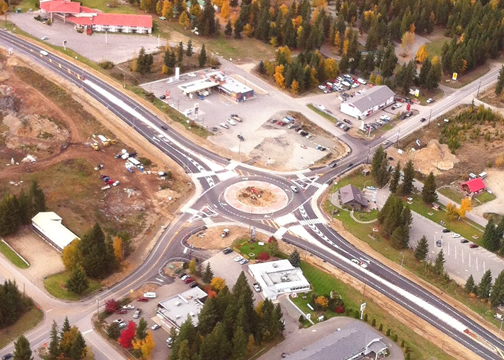 Roundabout at the intersection of Highway 5 and Clearwater Valley Road, in the district of Clearwater, B.C. McElhanney Consulting Services' work on the project won an award in the British Columbia Ministry of Transportation and Infrastructure's Deputy Minister's Consulting Engineers Awards given out January 28.