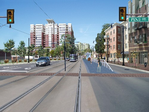 Artist's rendering of Waterloo-Kitchener ION LRT line.