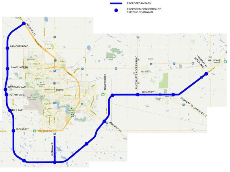 Planned route for Regina Bypass.