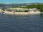 Harbour Resource Partners' design for sewage treatment plant on McLoughlin Point, Esquimalt at mouth of Victoria Harbour, Vancouver Island. The project is now on hold.