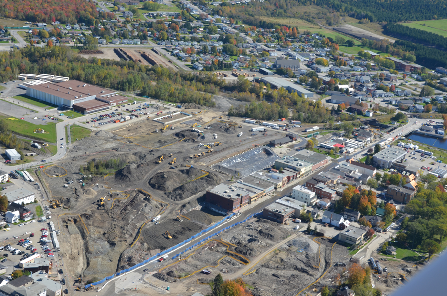 Aerial view of clean-up site at Lac-Megantic, Quebec. Photo courtesy Golder Associates.