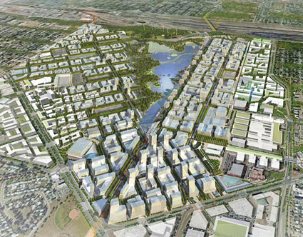 Aerial View of Blatchford, to be built on Edmonton's City Centre Airport Lands. Rendering by Chris Foyd.
