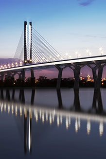 Artist's rendering of new St. Lawrence Bridge, Montreal. The design is by Arup, Dissing + Weitling, and Provencher Roy Associs Architects.