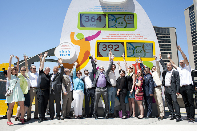 Cisco launches its Toronto 2015 Countdown Clock in Nathan Philips Square in Toronto on July 11.