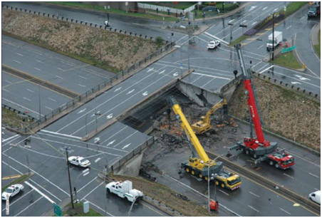 Aerial view of the de la Concorde overpass partial collapse onto Highway 19 (Photo: Original Commissioner's investigative report and the Ohio Department of Transportation)