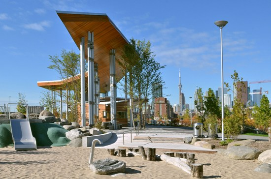 Corktown Common park in the West Don Lands, Toronto,  Image:  Waterfront Toronto.