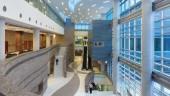 "Waterloo Region Courthouse atrium, designed to be non-threatening to the public following a ""Grand River"" theme.  Photo: EllisDon Corporation."