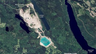 Mount Polley Mine site in B.C. on July 24, 2014, before the tailings pond breached.  Source: Visible Earth, NASA/Jesse Allen/Wikipedia Commons