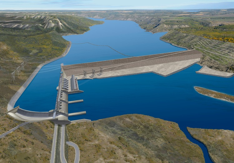 Artist's rendering of Site C hydropower plant along the Peace River, B.C..  Image: BC Hydro.