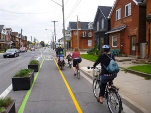 Segregated bike lanes in Hamilton. Photo: IBI Group.