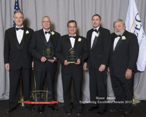 Members of Buckland and Taylor's team receiving the Honor Award at the Engineering Excellence Awards Gala in Wahshington, D.C. on April 21, 2015 for the Milton-Madison Bridge replacement project.