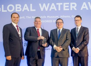 CH2M Regional Business Group Manager Amer Battikhi (far left) and Peter Nicol, Global Managing Director for CH2M's Water Business Group (middle) accepting the Global Water Award for the Region of Peel's Lakeview Water Treatment Plant, the Water Project of the year from José Manuel Barroso, President of the European Commission (2004-2014) and Prime Minister of Portugal (2002-2004) and GWI Publisher Christopher Gasson.