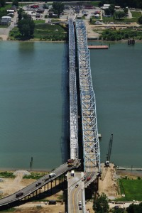 Milton-Madison Bridge replacement across the Ohio river. In April 2014 the bridge held the record for the longest lateral bridge slide in North America.  Photo courtesy:  Buckland & Taylor, engineers.