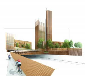 Scheme for 35-storey wood skyscraper for the Réinventer Paris competition by Michael Green Architecture/Equilibrium/DVVD/REI France. The roof garden will provide a community space with restaurants, cafes, garden spaces and bicycle rentals. Image courtesy of Quarx Digital.