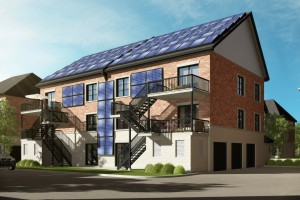 Rear Elevation Rendering of Construction Voyer's Net Zero Energy Project in Laval, Quebec. Image courtesy: buildABILITY.