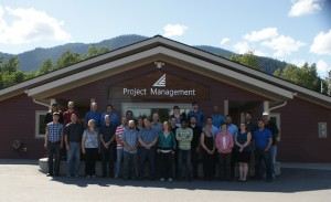 Staff of Lapointe Engineering, now part of Hatch, outside their offices in Kitimat, northern B.C.