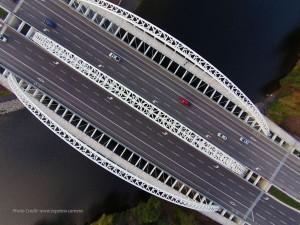 Vimy Memorial Bridge, Ottawa, aerial view. Photograph www.topview.camera, courtesy Parsons.