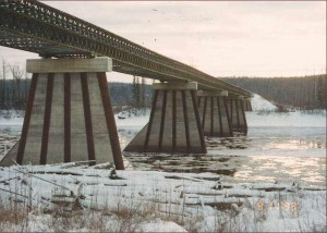 Piers of Fort Nelson River Bridge, B.C.  Photo courtesy B.C. Ministry of Transportation and Infrastructure
