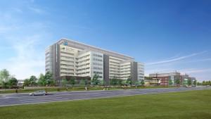Artist's rendering of New Oakville Hospital, Oakville, Ontario.  Image: Infrastructure Ontario.
