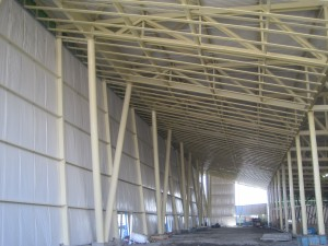 Removable columns (at right) and permanent V columns (at left) in the temporary seating enclosure of the Aquatics Centre, Toronto Pan Am Sports Centre, University of Toronto. Photo: WSP.
