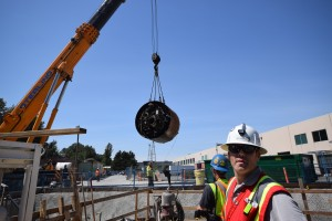 "Raising the tunnel boring machine ""Squirrel"" for the Port Mann Water Main Project in Coquitlam. Image: Metro Vancouver."