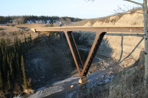 Kiskatinaw Bridge in Peace region, BC. A steel frame bridge built in 1978. TranBC.