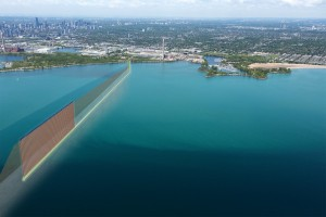 Conceptual isometric rendering for the planned Ashbridges Bay Treatment Plant Outfall in Toronto. Yellow lines represent the outfall shaft and tunnel; brown lines represent the riser pipes from the tunnel to the lake; blue components are the diffuser ports discharging the treated effluent. Image: Hatch Mott MacDonald.