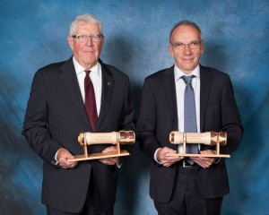 Dick Walters, P.Eng. (left), and Don Chambers, P.Eng., receiving their 2016 CEA Lieutenant Governor's Award for Distinguished Achievement.