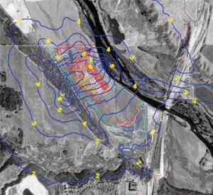 Figure 1. Estimated odour isopleths surrounding the Pine Creek WWTP in Calgary after odour control implementation. (Pouliot and Fries, Development of Odour Control Strategy for the Pine Creek Wastewater Treatment Plant, 2004.)