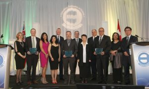 Winners of 2016 Willis Chipman Award at the 2016 Ontario Consulting Engineering Awards. Present are people from AECOM, Hatch and CH2M.