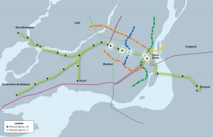 """CDPQ Map of proposed Montreal LRT (Reseau électrique métropolitain """"REM"""") connections."""