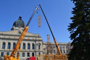 Saskatchewan Legislature Building, Regina as work on restoration of dome started. Photo: Govt. of Saskatchewan.