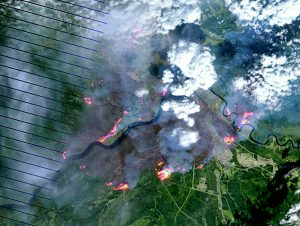Satellite image of Fort McMurray on May 4. Image: Wikipedia.