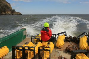 Monitoring for marine mammals in the Minas Passage, Bay of Fundy.  Photo: Acadia University/FORCE.
