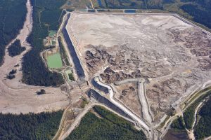 Aerial view of Mount Polley Mine tailings pond a few days after the breach. Photo: Jamie Heath, Terrasaurus Aerial Photography.