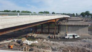 Central Avenue Bridge superstructure slides into place on July 21, 2016. Photo: Hatch.
